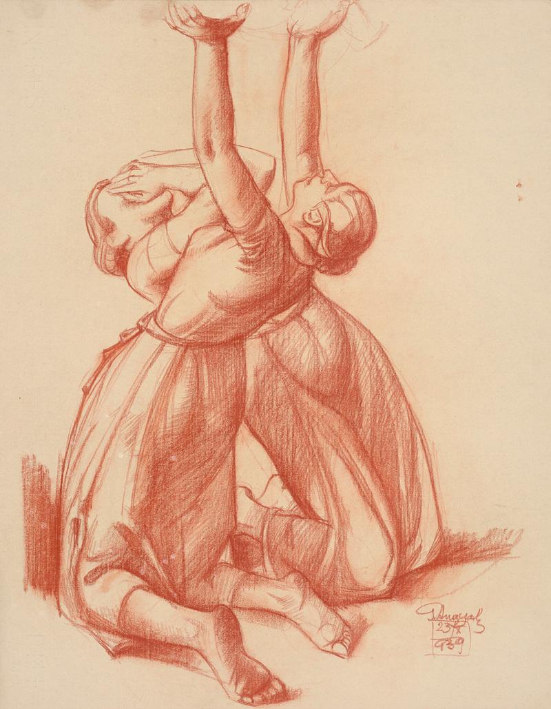 Gejza Angyal: Dve zúfalé ženy. 1939. Stredoslovenská galéria, Banská Bystrica