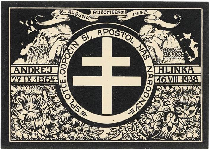 Štefan Leonard Kostelníček: Súbor pohľadníc vydaný k úmrtiu Andreja Hlinku. 1938. Malokarpatské múzeum, Pezinok