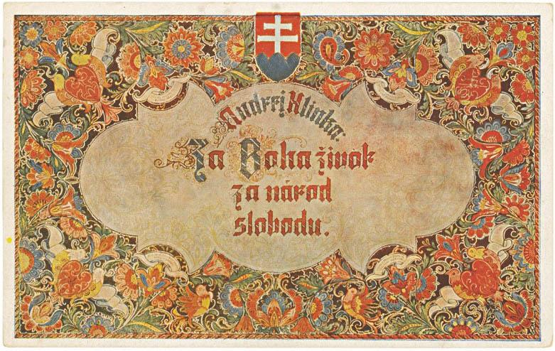Štefan Leonard Kostelníček: Za Boha život, za národ slobodu! 1939. Pohľadnica. MMB, Bratislava