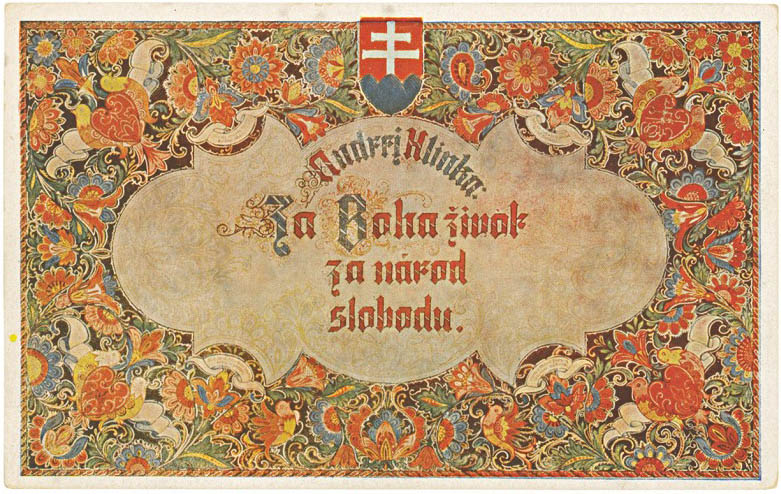 Štefan Leonard Kostelníček: Life for God. Freedom for nation! 1939. Postcard. Bratislava City Museum, Bratislava