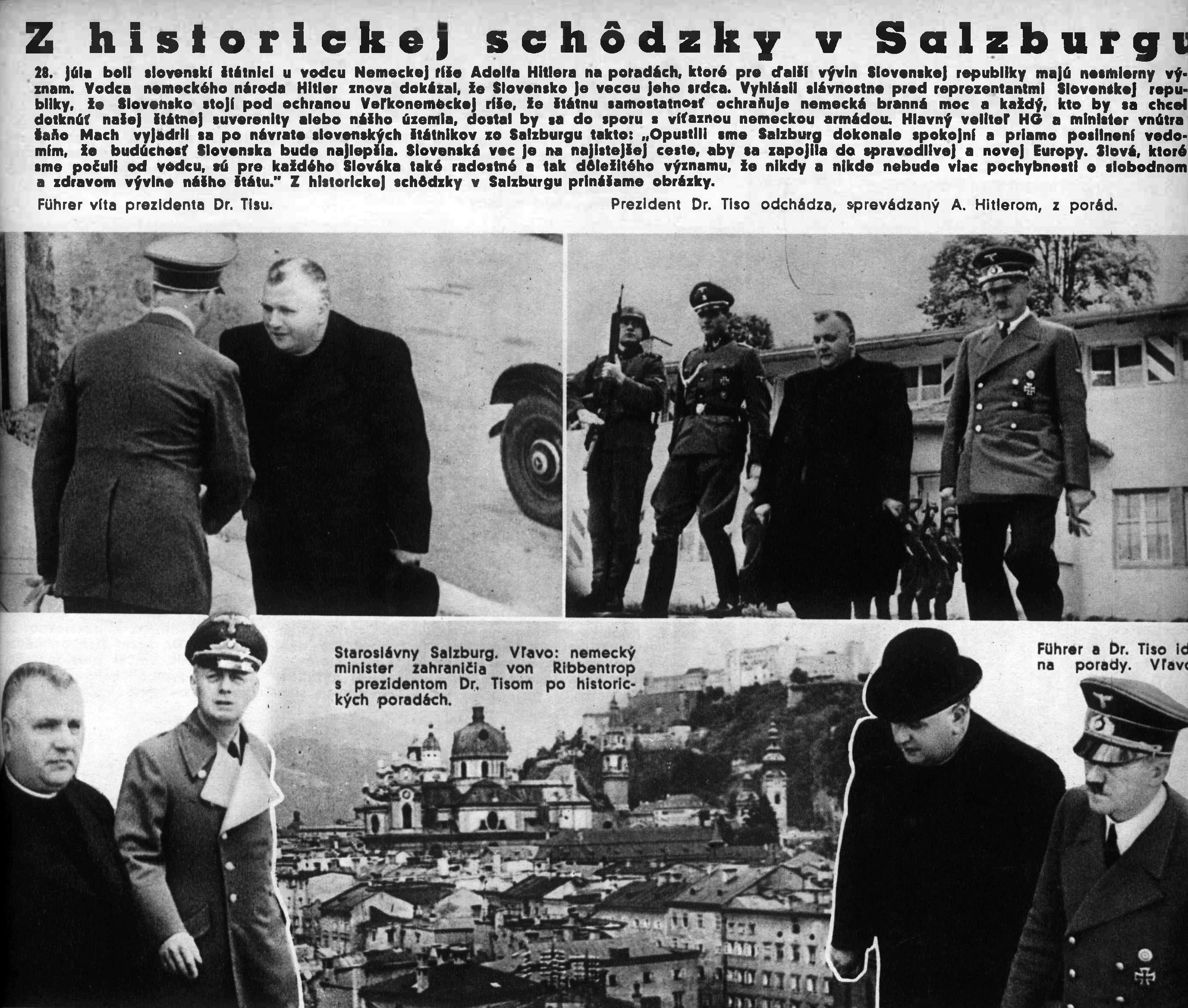 Z historickej schôdzky v Salzburgu, koláž z časopisu Nový Svet, 17.08.1940, Univerzitná knižnica v Bratislave
