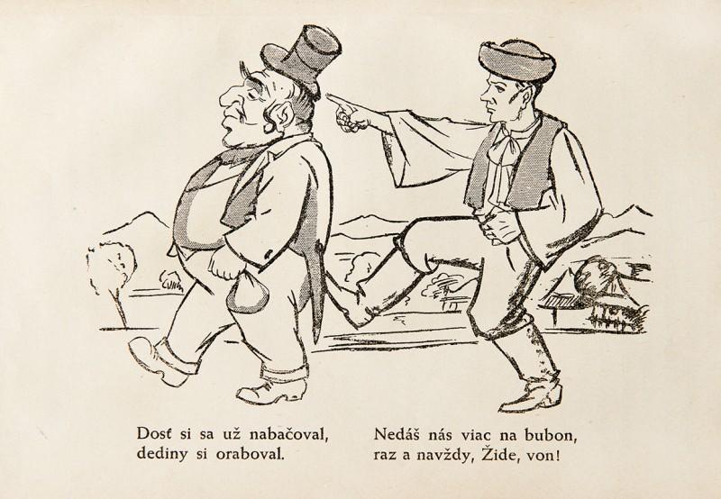 Neznámy autor - Protižidovská karikatúra z publikácie: Ctibor Pokorný - Židovstvo na Slovensku, 1940, Univerzitná knižnica v Bratislave
