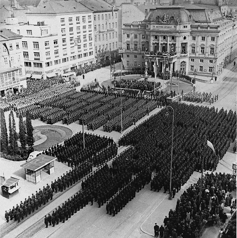 Ladislav Roller, Jozef Teslík - Celebration of the National Day in Bratislava. Members of Hlinka Guard and Slovak Army Lined up in the Square. 14 March 1941, Slovak National Archive, Bratislava - Slovak Press Office
