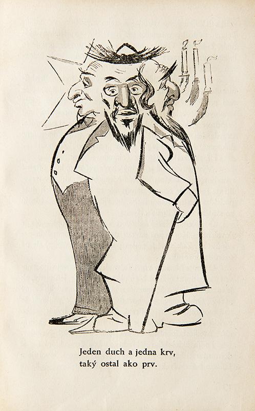 Neznámy autor - Protižidovská karikatúra z publikácie: Ctibor Pokorný - Židovstvo na Slovensku, 1940, Univerzitná knižnica v Bratislave - UK BA