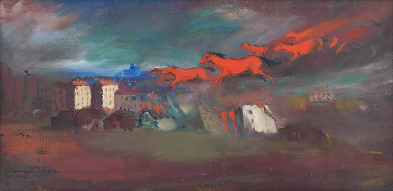 Július Nemčík - Fire, 1944, Slovak National Gallery