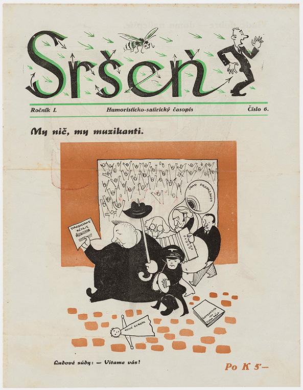 Neznámy autor - Humoristicko-satirický časopis Sršeň - My nič, my muzikanti, 1945, Slovenské múzeum dizajnu - SMD, Bratislava